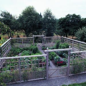 Deer-proof vegetable garden - The design of the 10-foot-tall fence is adapted from a pattern the owner saw in a past issue of Sunset. Along the bottom of the fence, closely spaced pickets keep out small animals. A grid of squares made of 1-by-1s forms a deerproof barrier above the pickets. The fence is capped by 2-by-8s and beveled 2-by-6s.