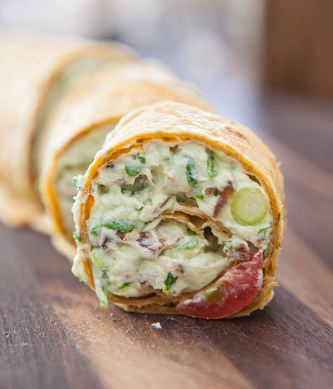Avocado Cream Cheese Snack Roll Ups... These taste pretty much like a southwest inspired BLT, but in wrap form!