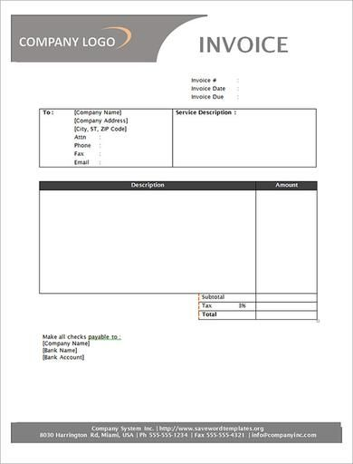 Company Receipt Invoice Templates Free