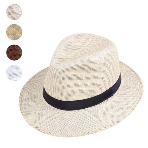 e451ff4eb23 Panama Style Handmade Fedora Straw Hat Summer Beach Travel Sunhat For Men  Women  fashion