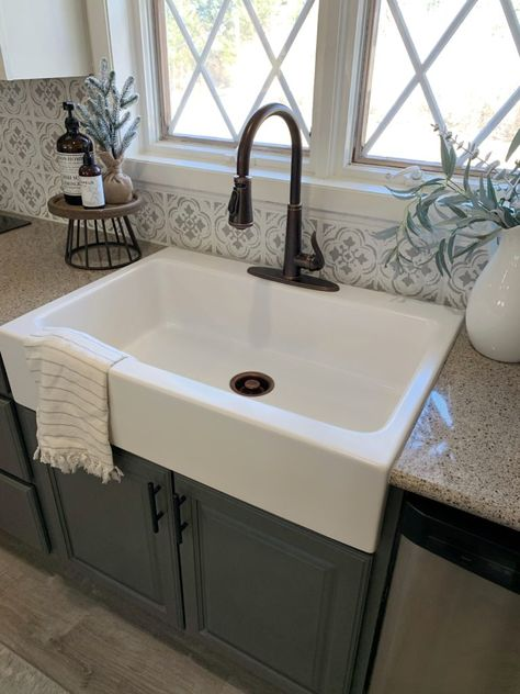 Drop In Farmhouse Sink, Drop In Kitchen Sink, Farmhouse Sink Kitchen, Kitchen Redo, Kitchen Remodel, Kitchen Design, Faucets For Farmhouse Sinks, Kitchen Ideas, Farmhouse Rules