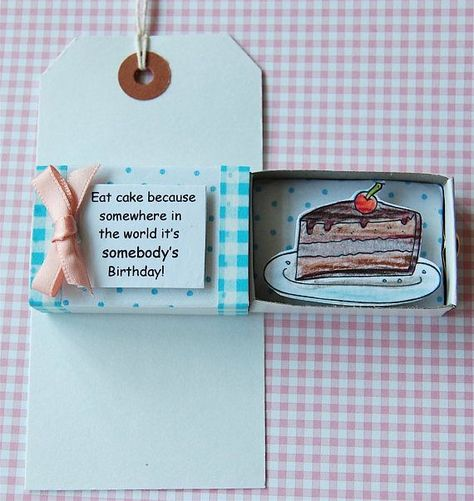 Birthday Card Funny Card PERSONALISE Cake Card All Occasion Card Matchbox Greeting Diorama 3D Card HANDMADE  Vreni  #3D #birthday #Cake #Car