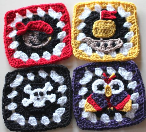 Crochet Pirate Granny Squares - Tutorial