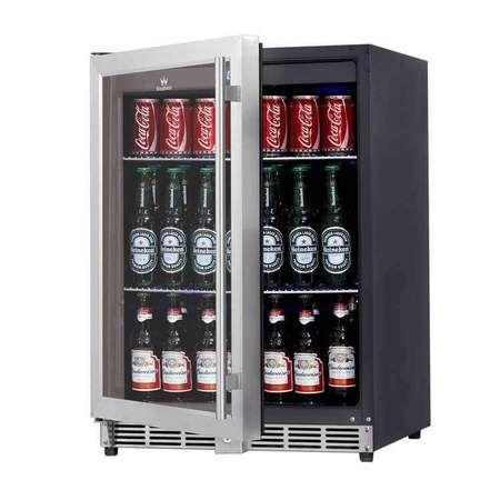 36 Inch Heating Glass 2 Door Built In Beverage Fridge Beverage Fridge Beer Refrigerator Beer Cooler