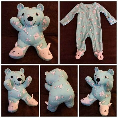 """Sewing Teddy Bear This is a cute idea. Makes me wish I saved my kids pajamas.for someone else to sew. - Artists and crafty moms are turning old baby clothes into keepsake """"memory bears"""" that can be cherished by parents and kids for years to come. Old Baby Clothes, Baby Clothes Quilt, Clothes Sale, Baby Clothes Patterns, Clothes Women, Quilt Baby, Baby Memory Quilt, Memory Quilts, Baby Outfits"""