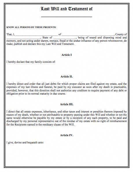 Printable Sample Last Will And Testament Template Form Lastwill