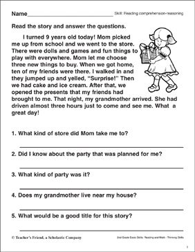 Reading Comprehension Reasoning The Best Birthday Practice Lesson Skill My Party Essay 10 Line On For Clas 2 In Hindi Grade 5