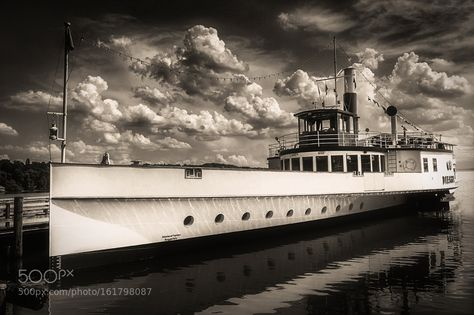 The Paddle steamer Diessen on Lake Ammer b/w by AxelHoffmann