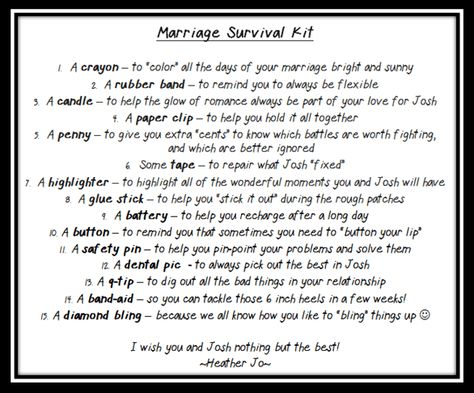 Wedding Shower Gift - Marriage Survival Kit - HoJo's Life Adventures