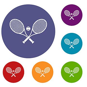 Crossed Tennis Rackets And Ball Icons Set Ball Icons Tennis Icons Set Png And Vector With Transparent Background For Free Download Scrapbook Images Icon Set Rackets