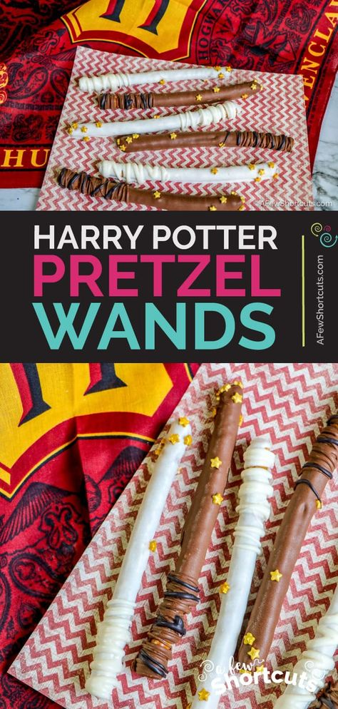 Alohamora some magical fun with this easy to make Harry Potter Pretzel Wands Recipe Perfect for a party or movie night AFewShortcuts Movie Night Snacks, Movie Night Party, Family Movie Night, Movie Nights, Party Time, Popcorn Bar, Hallmark Channel, Pizza Hut, Harry Potter Snacks