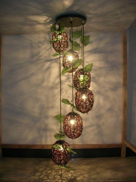 Creatieve Decoratie Ideeen.Handgemaakte Kunst Lamp Riet Maakt Pedant Lamp Creatieve Etsy In