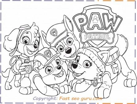 Free Printable Pawpatrol Patrol Everest Rubble Chase Coloring