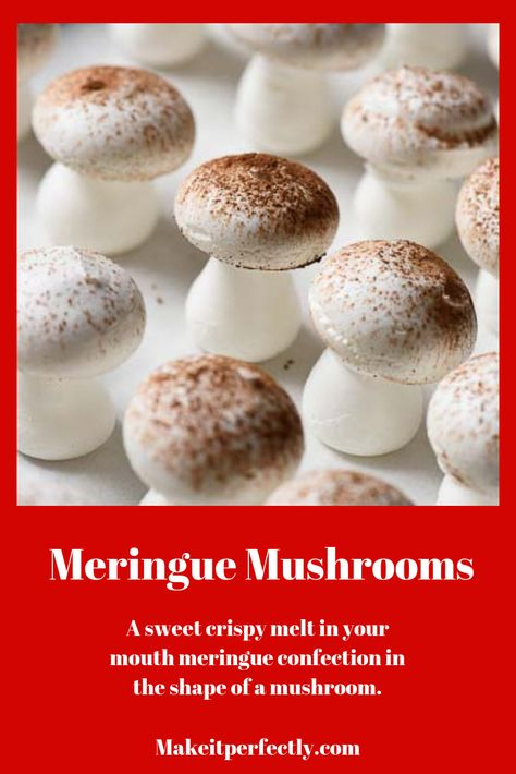 """- """"Meringue mushrooms are the classic garnish to a yule log. They add a whimsical mood and visual depth when placed sparingly at the base of these """"log"""" cakes. The dusting of cocoa is intended to . Christmas Yule Log, Christmas Desserts, Christmas Baking, Viking Christmas, Xmas, Easy Yule Log Recipe, Chocolate Yule Log Recipe, Meringue Mushrooms, Yule Log Cake"""