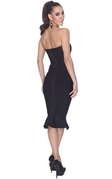 5f6bc064bc5 A black strapless mermaid dress in midi length. It has a cute flare at the  hem looking like a mermaid tail. The sheath-like bandage fit reveals your  curves ...