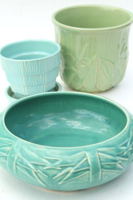 Vintage Mccoy Pottery Flower Pots Planters Blue Green Aqua Instant Collection With Images Mccoy Pottery Pottery California Pottery