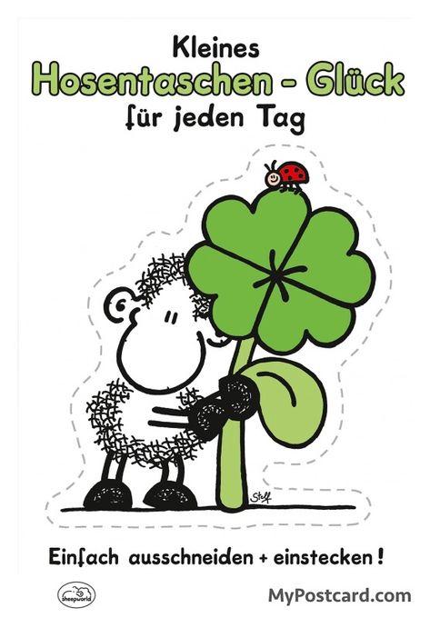 """sheepworld Postkarte – """"Kleines Hosentaschen Glück für jeden Tag"""""""