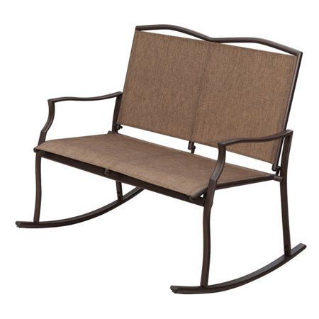 Sunlife Outdoor Sling Rocking Chair Built For 2 Loveseat Bench Patio Garden Balcony Frame Color Bronze Brown Taupe Fabric Color Khaki Sand Walmart C Patio Rocking Chairs Outdoor Rocking Chairs Glider Rocker