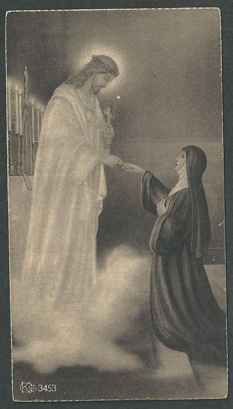 Estampa antigua de una Monja andachtsbild santino holy card santini