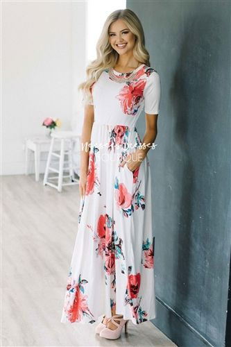 a8481852d3c3 This beautiful maxi dress is flattering and so comfortable too! Lovely  white dress is incredibly soft, features a watercolor floral print, half  sleeves, ...
