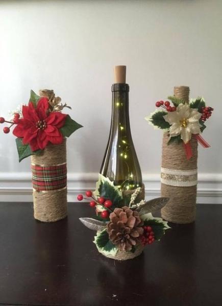 25 Super Ideas Flowers Vase Ideas Christmas Wine Bottle Christmas Decorations Wine Bottle Crafts Christmas Christmas Decor Diy