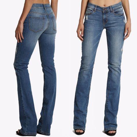 2936324dd93 Themogan Mid Rise Slim Fit Bootcut Jeans With Soft Stretch Med Blue Denim  Wash