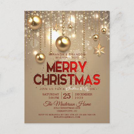 Gold Christmas Baubles Stars Holiday Party Invitation Postcard Zazzle Com In 2020 Holiday Party Invitations Corporate Holiday Party Invitations Wish You Merry Christmas