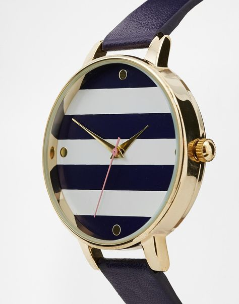 Stripe Large Round Face Watch