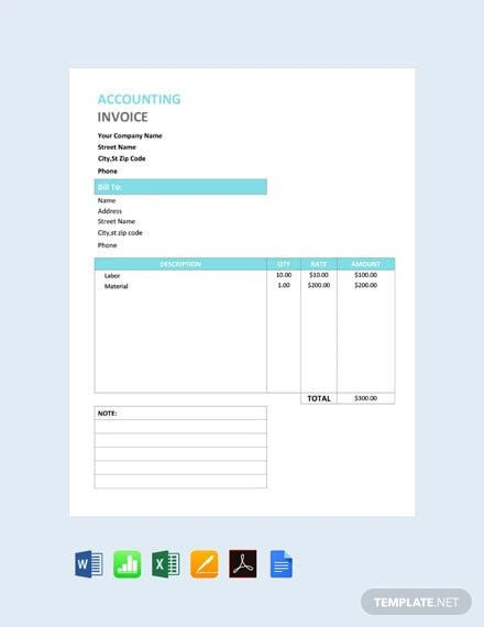 Accounting Service Invoice Template Free Pdf Word Doc Excel Apple Mac Pages Google Docs Apple Mac Numbers Invoice Template Invoice Design Template Invoice Design