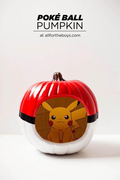 DIY Poké Ball pumpkin with a Pokémon inside!