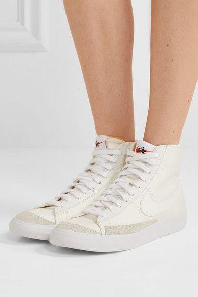 Poner la mesa reserva Impuro  Off-white Blazer Mid '77 suede-trimmed canvas high-top sneakers | Nike | Leather  shoes woman, Nike blazer, High top sneakers