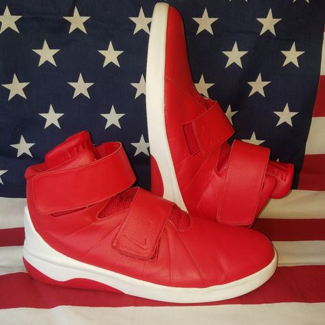 red nike velcro shoes