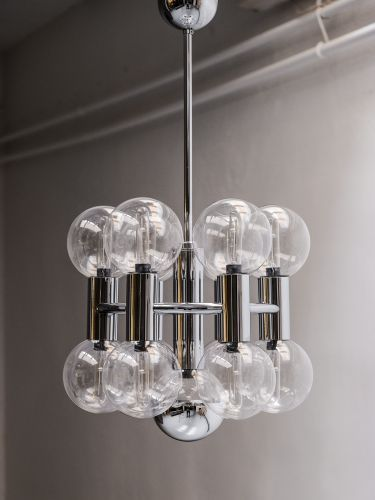 Beautiful Chrome And Clear Glass Chandelier Designed By Motoko