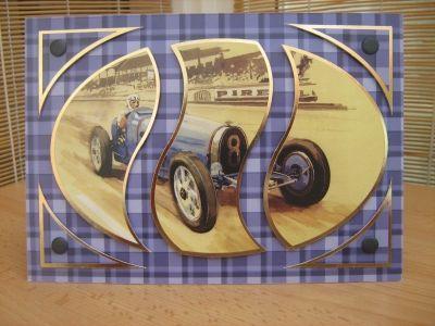 Handmade 6 Square Personalised Birthday Card Classic Cars Theme c916