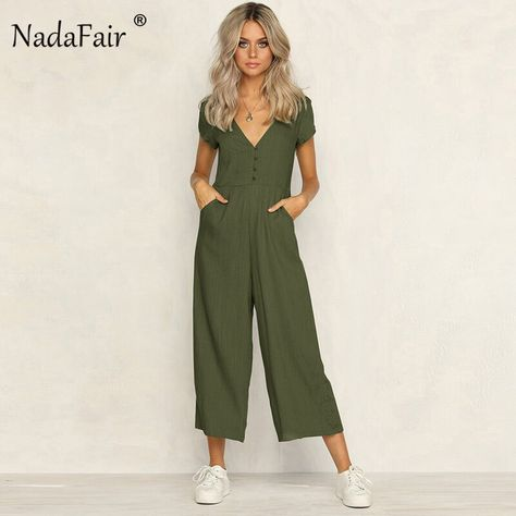 FSDA Women V Neck Casual Button Pockets Short Sleeve Jumpsuits Summer Sexy Backless Elegant Party Rompers - green,l