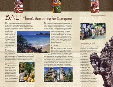 Bali travel brochure (back) designed by Sue Risley Graphic Design - travel brochure