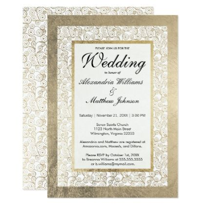 Elegant Modern White Faux Gold Swirls Glam Wedding Card Elegant Elegant Wedding Invitation Design Elegant Wedding Invitations Elegant Wedding Invitation Card