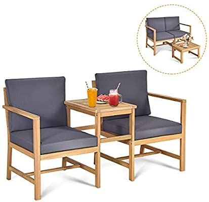 Amazon Com Tangkula Acacia Wood Loveseat With Separable Coffee Table 3 Piece Wooden Chairs In 2020 Patio Furniture Chairs Wood Patio Furniture Outdoor Furniture Sets