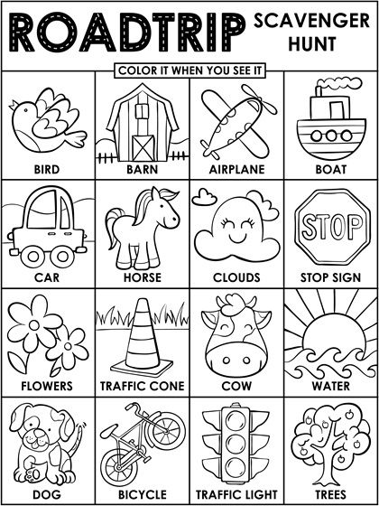 Roadtrip Scavenger Hunt Coloring Page Crayola Com Road Trip