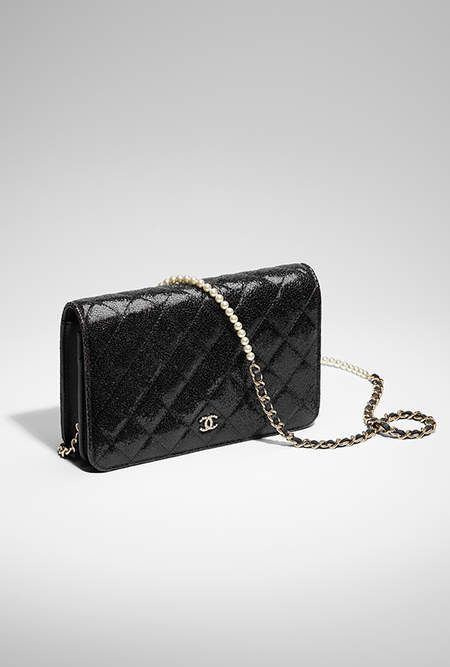 Wallet On Chain Crackled Patent Calfskin Gold Tone Metal Black Chanel Chanel Handbags Chanel Fine Jewelry