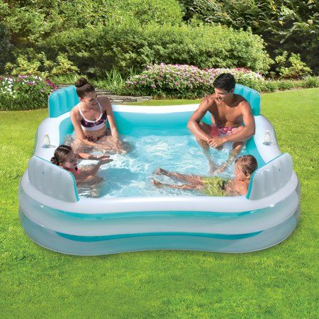 Summer Waves Square Premier Inflatable Family Pool Walmart Com Family Pool Summer Waves Pool