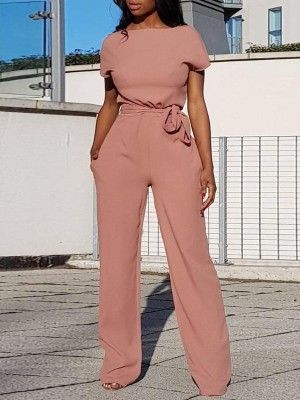bbb8b7ac400b Alluring Solid Waist Belted Wide Pants Jumpsuit. Contrast Stripes ...