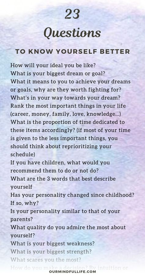23 questions to ask yourself that will cultivate self-awareness - OurMindfulLife.com /self reflection/self knowledge/self conscious/self awareness worksheet/self exploration /self care art /self discovery personal development //self awareness questions/self questions/self-aware/self awareness exercises/how to become self aware/getting to know yourself/self awareness assessment test/ways to increase self awareness/self awareness quotes/why is self awareness important/