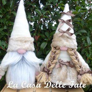 Size Xl Shabby Chic Couple Of Gnomes Wedding Gnomes Swedish Tomte Nordic Nisse Scandinavian Gnome Faux Fur Gnomes Woodland White Gnomes Manualidades Navideñas Manualidades Navideño