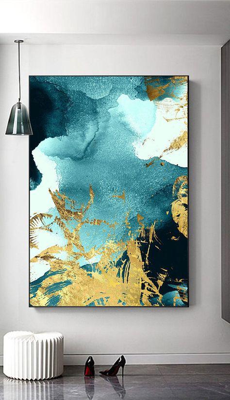 Abstract gold foil printable watercolor sea waves wall art