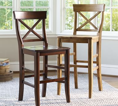Aaron Barstool Counter Height Rustic Mahogany Stain Wood Bar