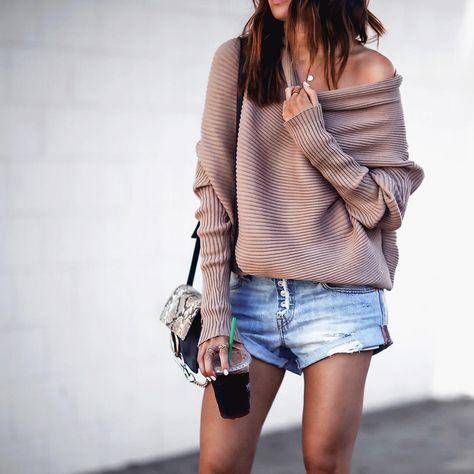 Pinterest: @eighthhorcruxx. Sweater and shorts