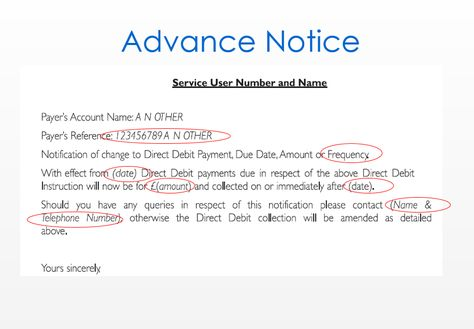 letter notice template work cancellation sample direct debit - notice form example