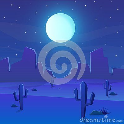 Desert Landscape With Cactus And Full Moon On Night Vector Illustration