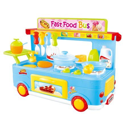 Fast Food Bus Kitchen Play Set Toy 29pcs Blue Ps8807 Walmart Com Pretend Play Food Cooking Toys Play Food